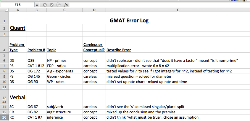 gmat error log