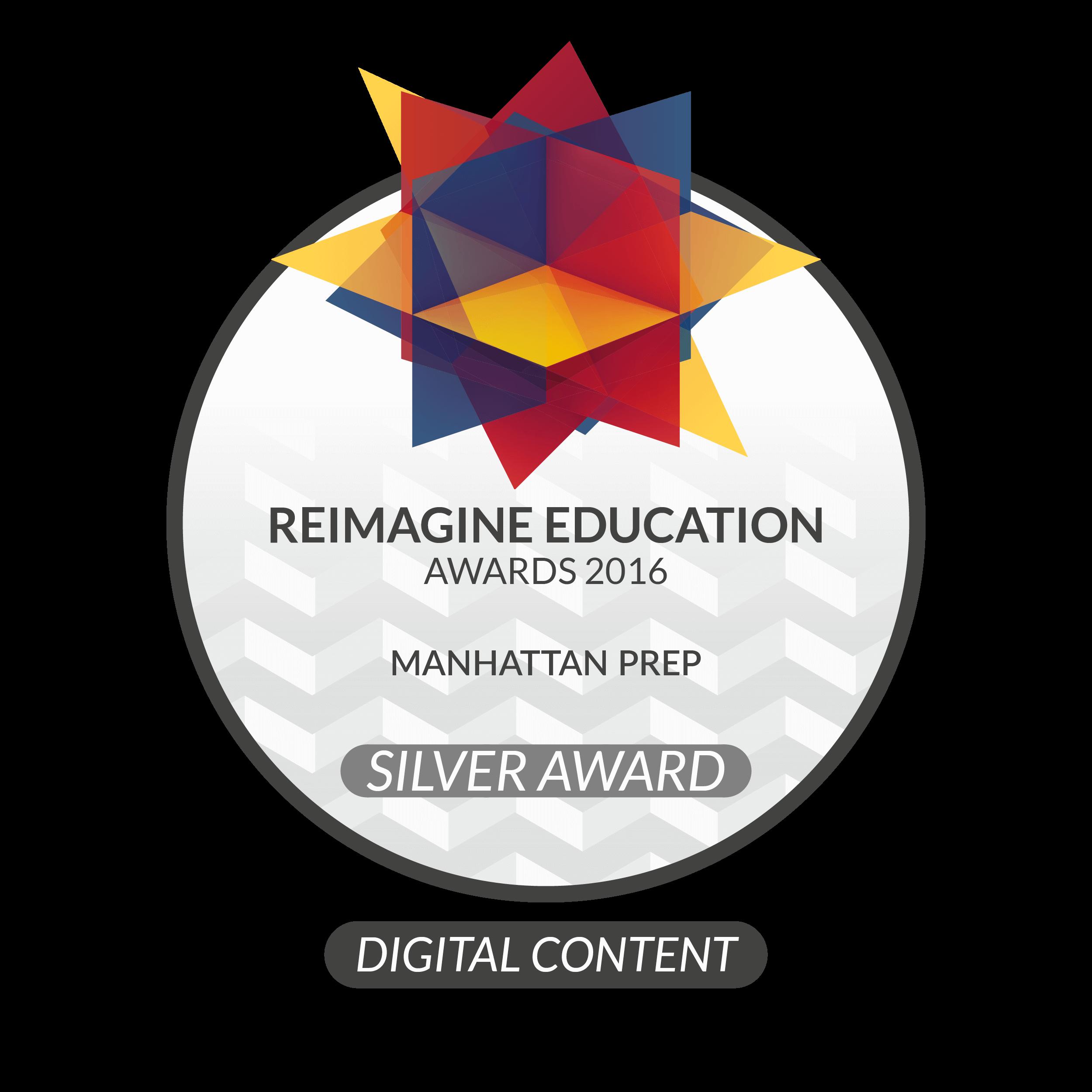 Reimagine Education Awards 2016 Digital Content Award Manhattan Prep GMAT LSAT Interact Badge