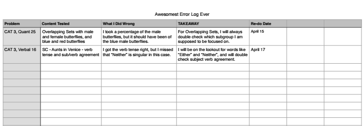 Manhattan Prep GMAT Blog - The #1 Way to Raise Your GMAT Score: The Error Log!! by Elaine Loh