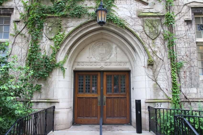 Chicago, Illinois in the United States. Entrance to Northwestern University - School of Law.